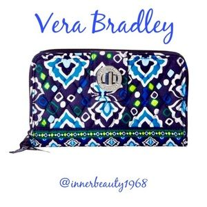 Vera Bradley Ink Blue Turn Lock Wallet NWOT